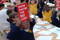 Top Footballers Join Anti-racism Lesson at White City School